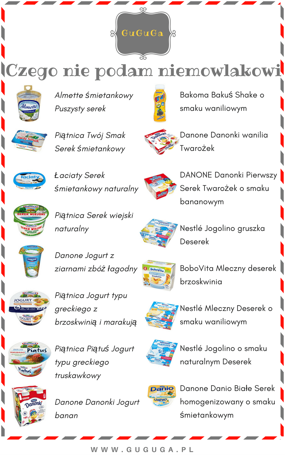 mleczne produkty dla niemowlaka