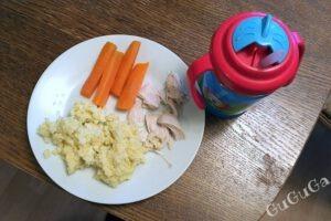Marchewka, kurczak, kasza jaglana + rosół