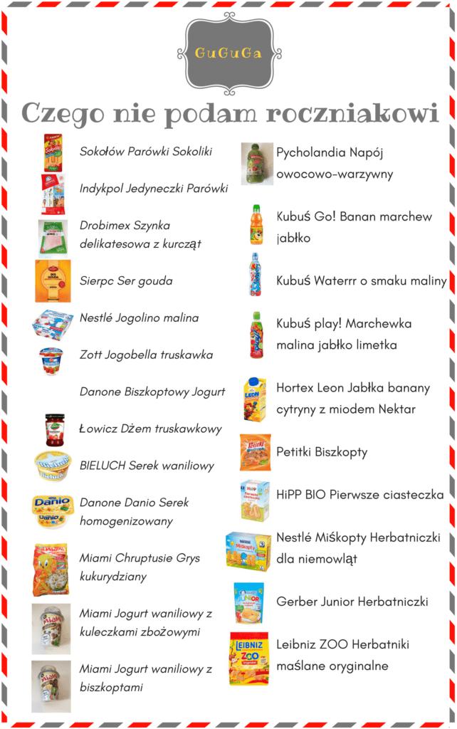zła dieta dziecka - skład produktów